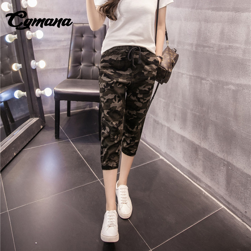 CGmana Women camouflage   pants   2018 Women Calf-Length   Pants   Simple Elastic Waist   Capri   Harem   Pants   Female Split Pockets Pantalon