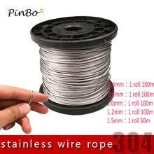 5 м 304 трос из нержавеющей стали alambre мягкий рыболовный подъемный кабель 7X7 структура 0,6 мм 0,8 мм, 1 мм, 1,5 мм, 2 мм