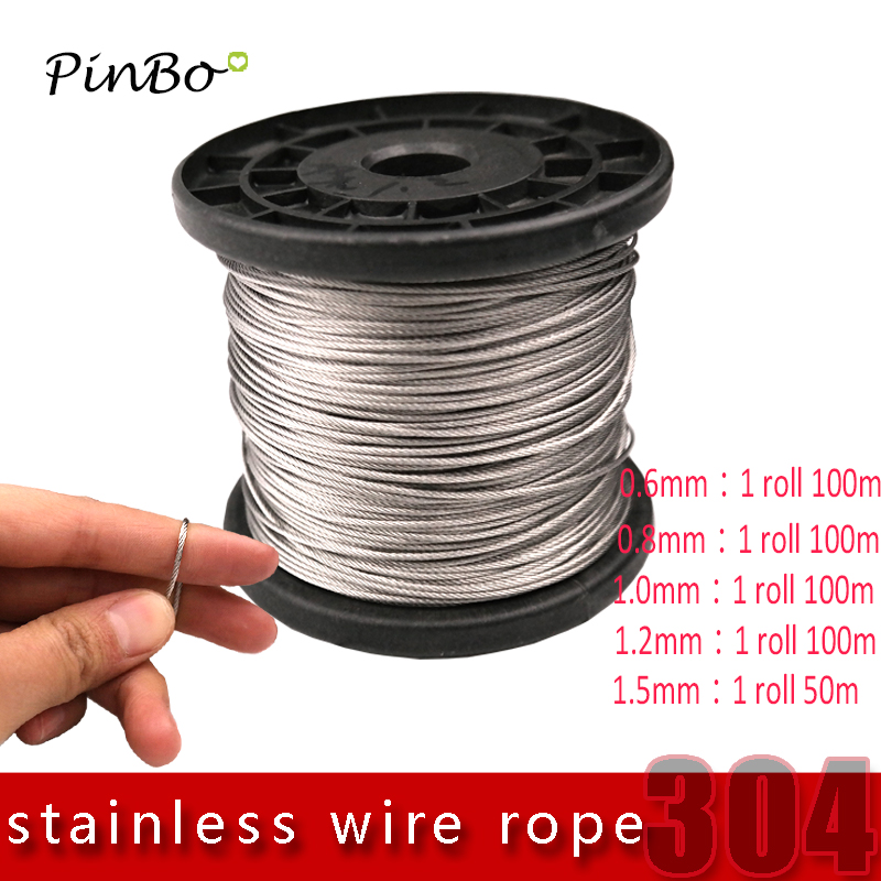 5M/10M/100M 304 stainless steel wire rope alambre softer fishing lifting cable 7X7 Structure 0.6mm 0.8mm,1mm diameter 1 2mm dia 7x7 5 2m long flexible stainless steel wire cable for grinder