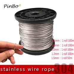 Envío Gratis cable de acero inoxidable 304 5M cable de elevación de pesca suave 7X7 estructura 0,6mm 0,8mm, 1mm, 1,5mm, 2mm