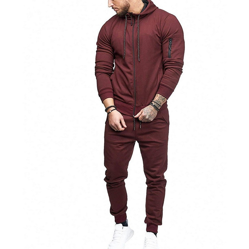 HTB12Q9 atzvK1RkSnfoq6zMwVXa2 HEFLASHOR Men Drawstring Sportwear Set Fashion Solid Sweatshirt&Pants Tracksuit Casual Zipper Hoodies Outwear Clothes 2019