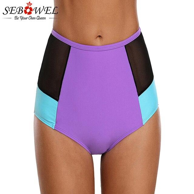 b04fe2b0fe SEBOWEL Women's Plus Size Purple Blue Full Back Coverage Bikini Bottom  Swimwear Bathing Beach Short Swimsuit Biquinis Feminino