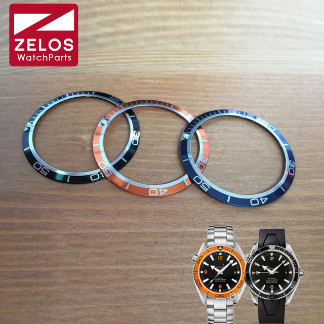 US $16 86 |Luminous aluminum 41mm watch bezels inserts loop for OMG seama  planet ocean automatic Chronograph orange/balck/blue watch parts-in Repair