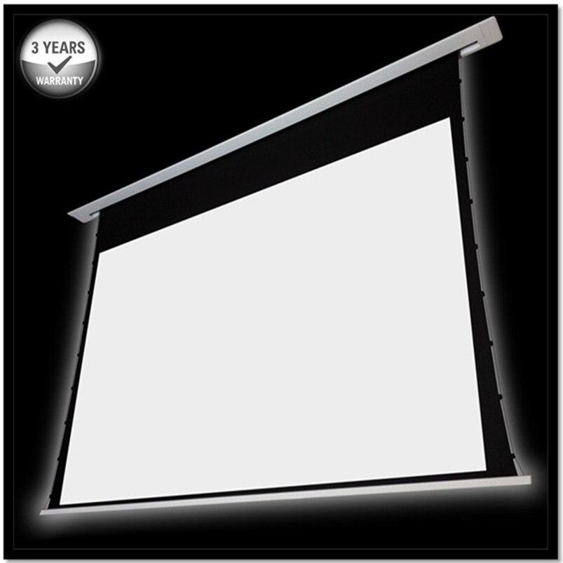 T4HHCW-16:9 HDTV Prime Plafond encastré Dans le plafond motorisé tab-tension électrique écran de projection-Cinéma Blanc 1.3 gain