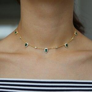 Image 4 - בוהמיה 2018 זהב צבע ירוק אבן שרשרת הצהרת שרשרת קולר תכשיטים לנשים אלגנטיות מתנה אופנתי תכשיטים