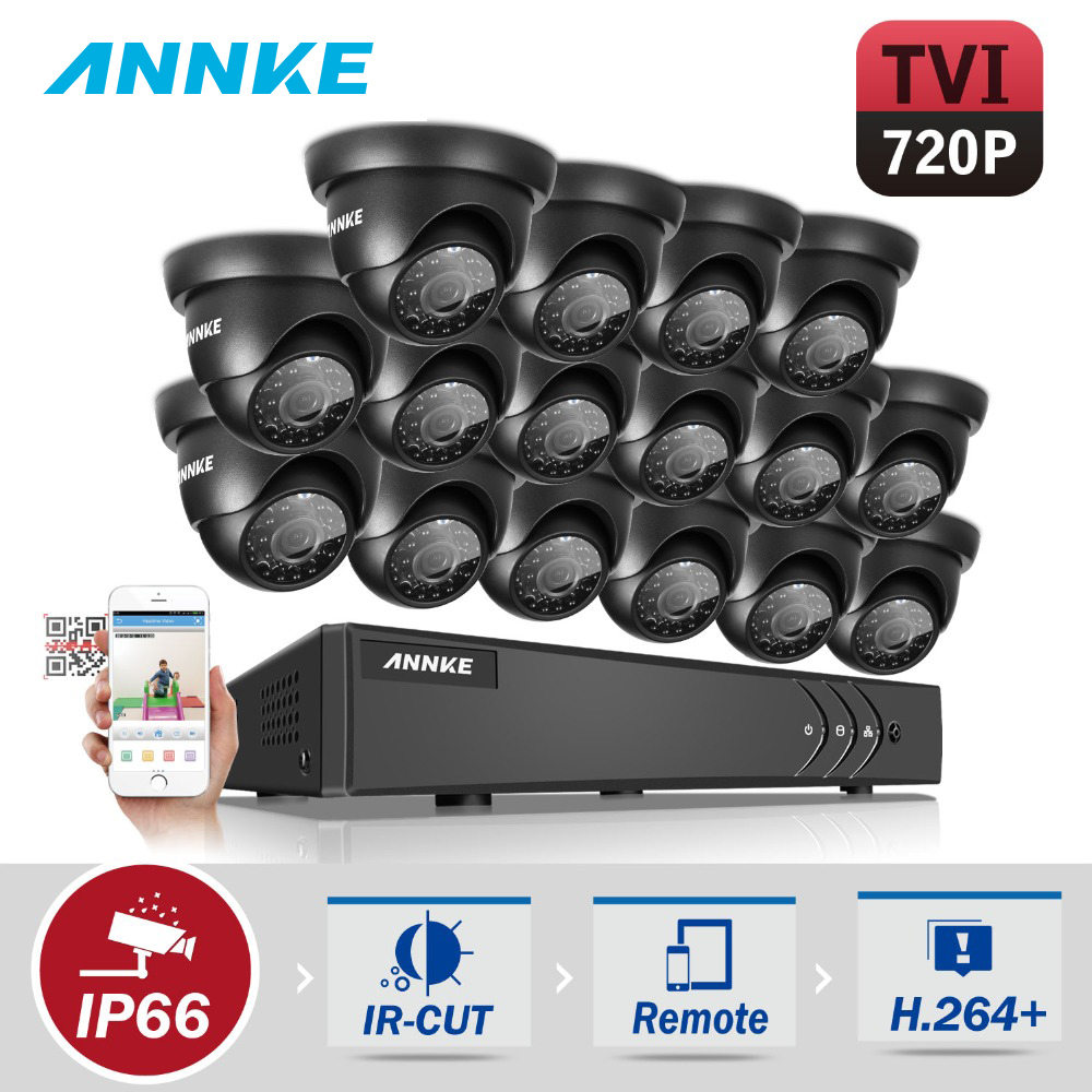 ANNKE 16CH HD TVI 1080P Lite CCTV Video Security System DVR with (16) 720P Outdoor Fixed Weatherproof Cameras Surveillance kits