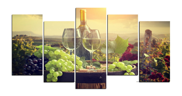 5 Panels Canvas Print Grape And Wine Estate Painting for Living Room ...