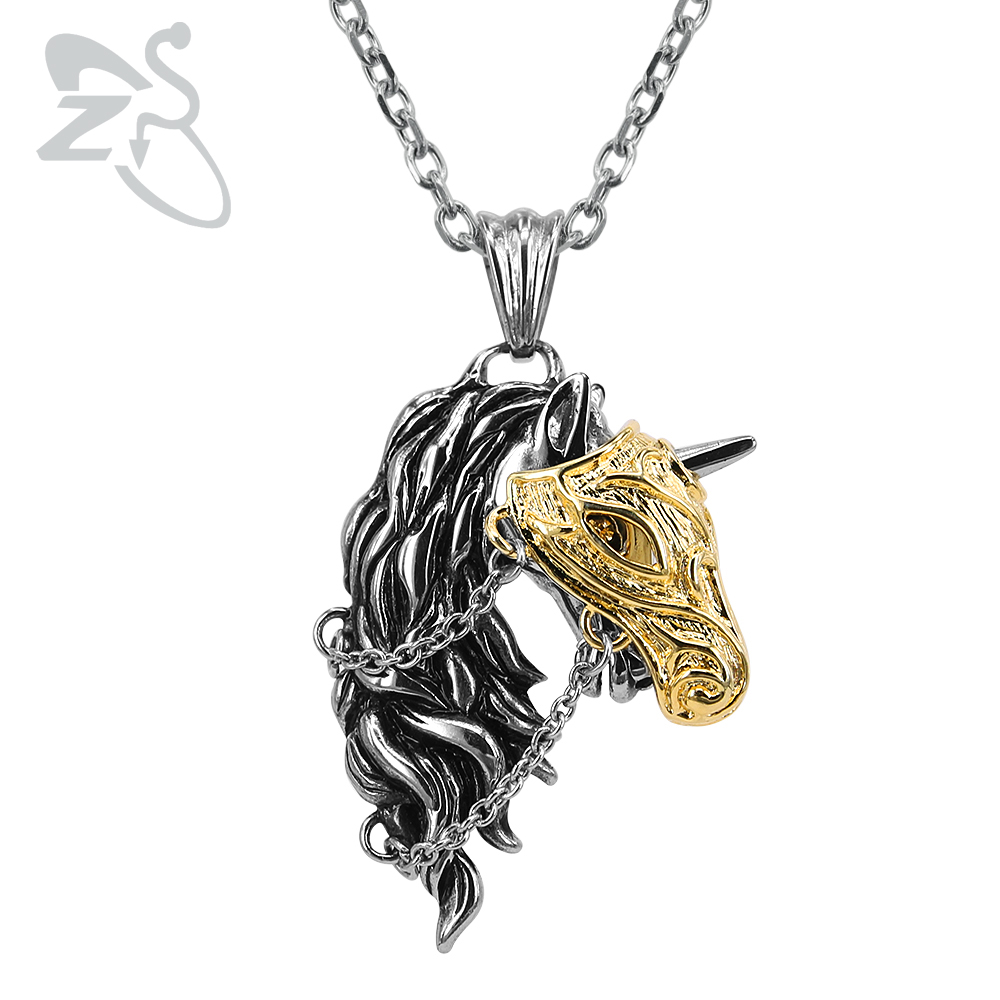ZS 2018 New Unicorn Pendant Necklace Punk Biker Necklace Pendant for Man Women Stainless Steel Necklace Punk Gothic Jewelry new hot movie necklace wholesale fashion stainless steel movie jewelry punk wolf pendant wolf head necklace
