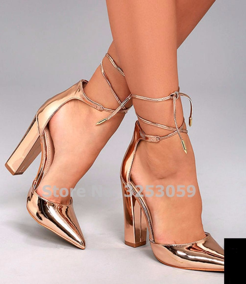 цена на ALMUDENA Top Brand Rose Gold Patent Leather Pointed Toe Pumps Chunky Heel Lace-up Dress Shoes Dropship Banquet Wedding Heels