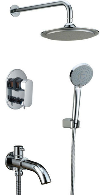 "Free shipping ABS 8""Round Rain Shower Wall mounted  Brass Chrome Bath shower Mixer Set  Faucet 91012"