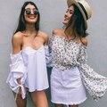 Poberlagals Sexy fora do ombro blusa branca camisa Xadrez praia branca blusa mulheres tops de Verão 2017 elegante listrado blusas femininas