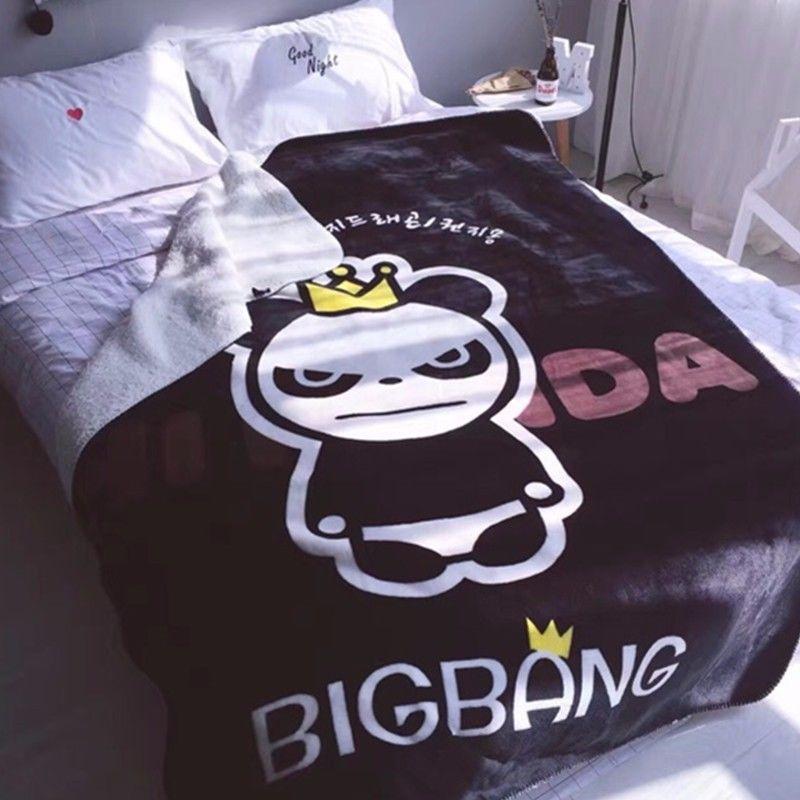 KPOP Idol BIGBANG GD G-Dragon Bear Soft Warm Coral Fleece Throw Bedding Blanket Toy Gift Collection new kpop bigbang gd gdragon the same gd is back peaceminusone seoul hand bag