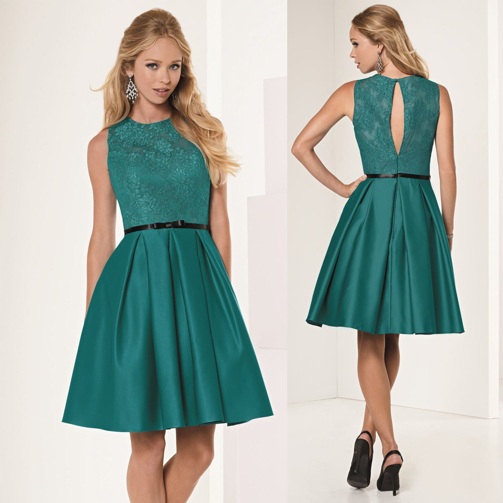 7a94a3342 Caliente verde moda de encaje de dama de honor vestidos de la rodilla  longitud Junior vestido del banquete de boda 2016 Robe Demoiselle D honneur  B15065 en ...
