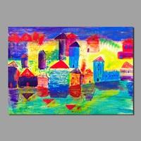 건물 추상 어린이 거실 장식 다채로운 낙서 인쇄 그림 캔버스 벽 예술 그림 홈 장식 프레임이없는