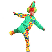 Kids Green Dot Clown Cosplay Costume Circus Anusement Park Jumpsuits Outfits Carnival Fancy Dress Decoration
