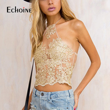 Elegant Gold White Chic Lace Crop Top 2019 Summer Beach Party Backless Short Halter Tops Sexy Camis Gauze Hollow Women Tank Top chic stand collar white hollow out short sleeve crop top for women