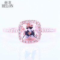 HELON Promotion Solid 14k Rose gold Cushion 6mm Shape 0.9ct Morganite Pave 0.2ct Natural Diamonds Wedding Engagement Fine Ring
