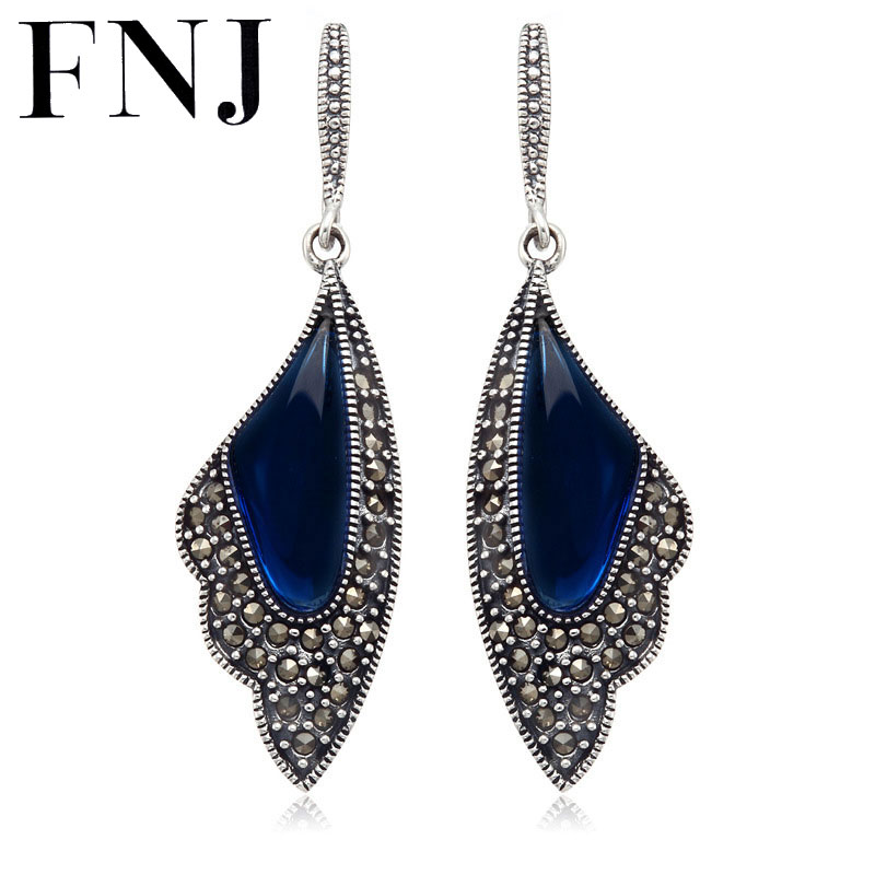 FNJ 925 Sterling Silver Red / Blue Corundum Stone Drop Earring S925 Silver Earrings Women Jewelry LE07 man s925 sterling silver jewelry silver jewelry jewelry red corundum skull ring new free shipping