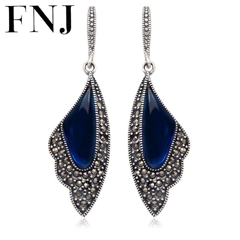 FNJ 925 Sterling Silver Red / Blue Corundum Stone Drop Earring S925 Silver Earrings Women Jewelry LE07