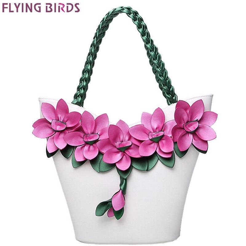 FLYING BIRDS women tote designer bag leather handbag flower composite bags  women s pouch vintage bolsas brands 0265749341706