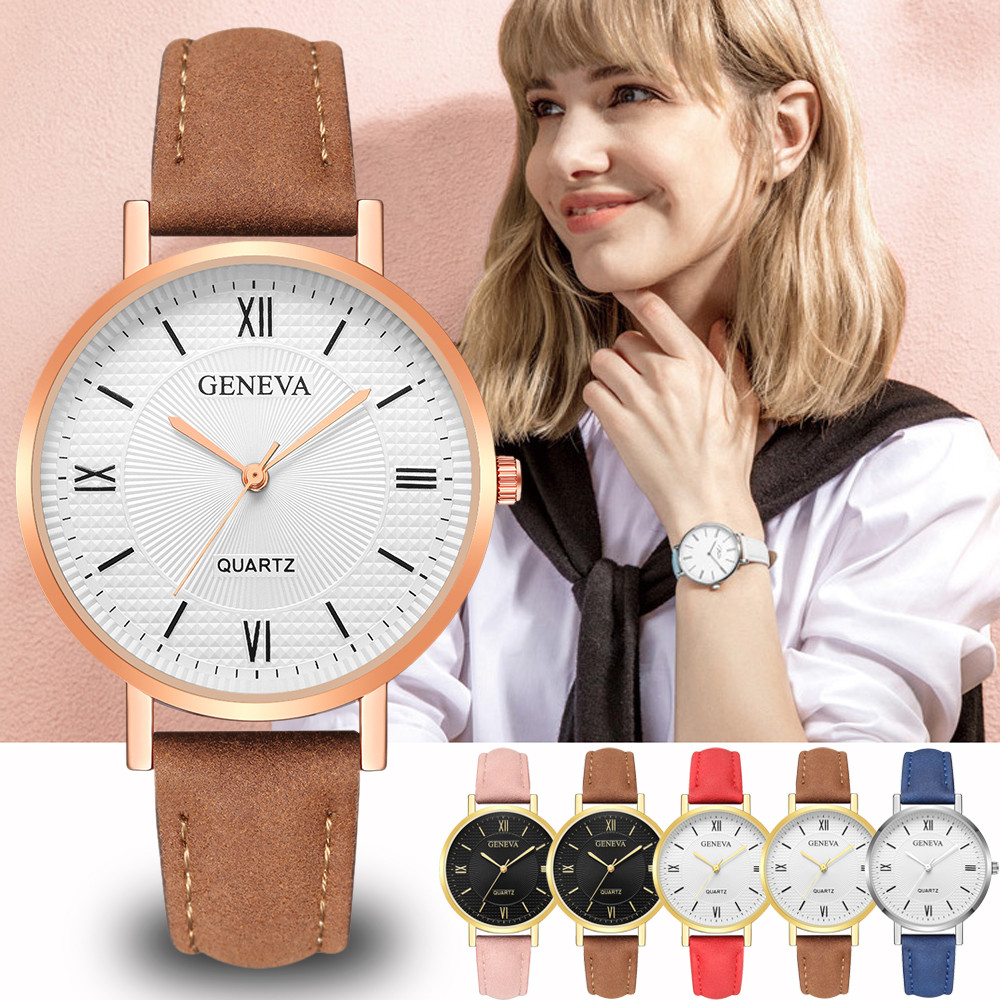 Geneva Leather Strap Women Watches Bracelet