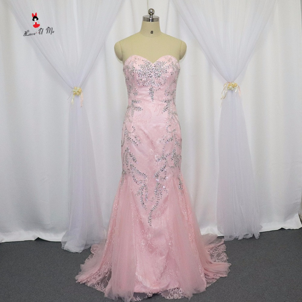 Vestido De Renda 2017 Hot Sell Pink Lace Evening Dress Real Photo Mermaid Long Elegant Prom Dresses Beads Special Occasion Evident Effect