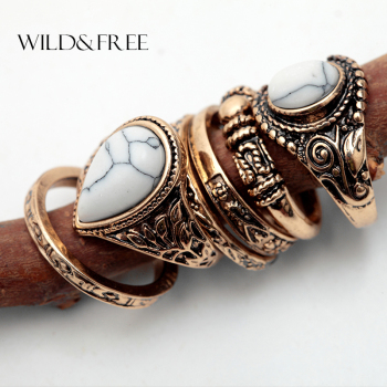 Vintage Gold Boho Women 6pcs Finger Ring Set