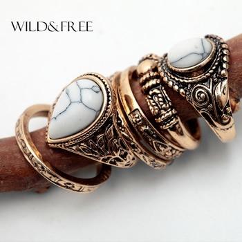 Vintage Gold Boho Women 6pcs Finger Ring Set
