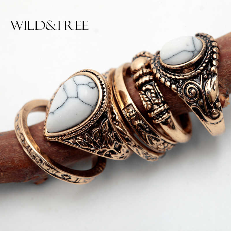 Women 6pcs Vintage  Finger Ring Set Antique Gold Silver Plain Circle Knuckle Bohemian Midi Ring Jewelry