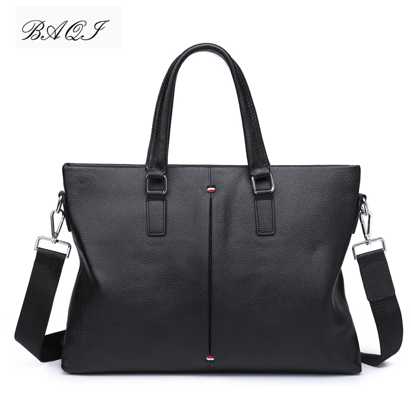 BAQI Brand Men Briefcase Bag Men HandBags Genuine Cow Leather Computer Business Bag 2019 Fashion Men Shoulder bags Messenger Bag in Briefcases from Luggage Bags