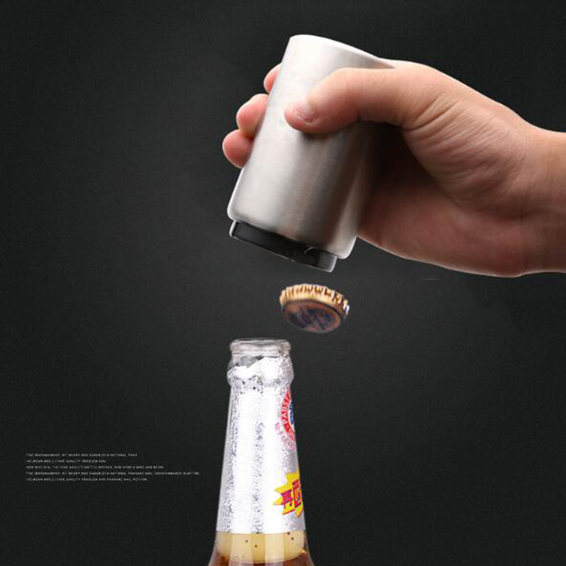 Stainless Steel Magnetic Auto Beer Opener Magnet Automatic Bottle Openers For Bar Kitchen Jar Can Opener Tools