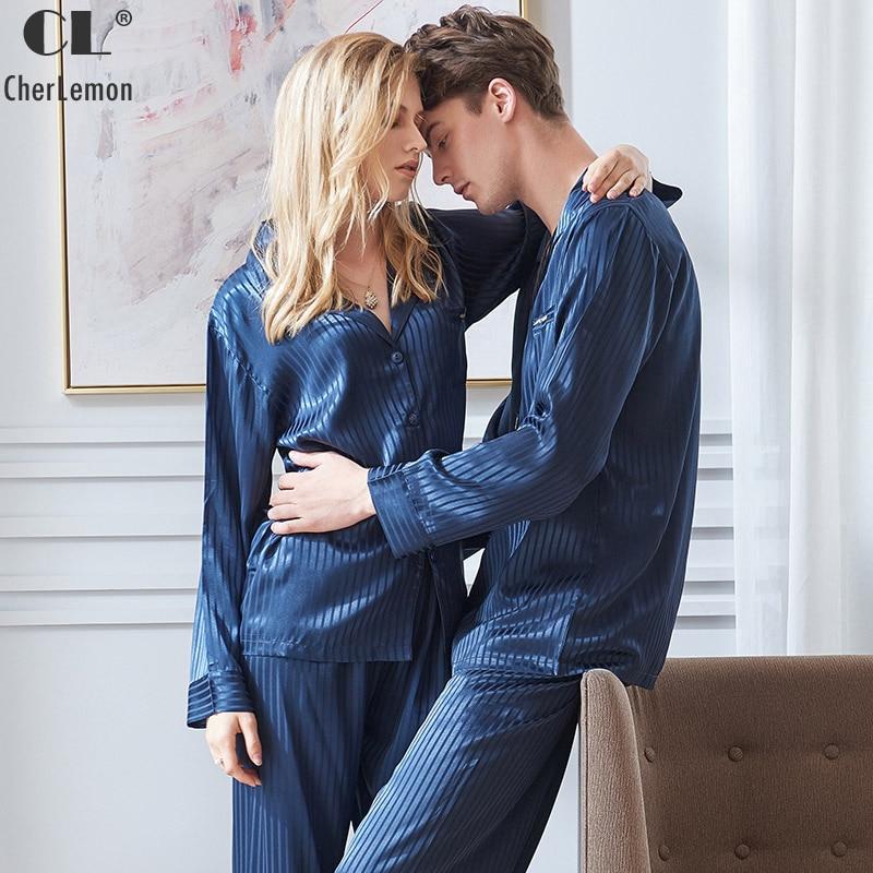 CherLemon Couple Premium Satin Pyjama Pour Hommes Classique Automne Manches Longues Col Cranté Vêtements De Nuit Femmes Marine Rayé Pyjama En Soie Ensemble