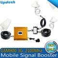 CONJUNTO COMPLETO 2G 3G reforço de Sinal de LCD! GSM 900 GSM 2100 Inteligente Telefone Móvel Impulsionador Amplificador 3G GSM Telefone Celular Repetidor Amplificador