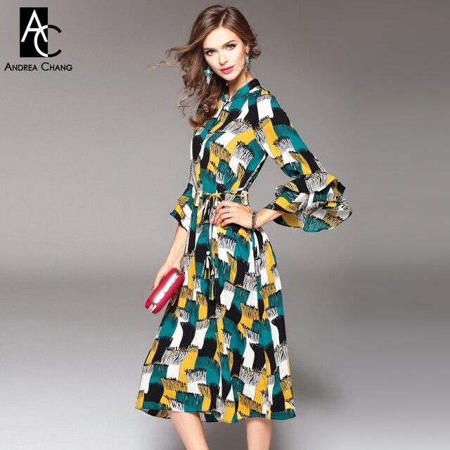 5b3490cb5830b5 Lente zomer runway designer womans jurken groen geel zwart wit sjaal  patroon print over knie kalf