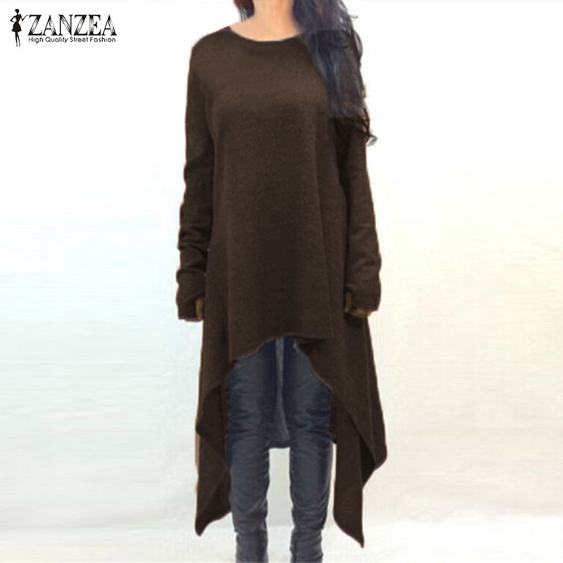 ZANZEA Women Sweater Dress 2018 Autumn Long Sleeve Asymmetric Hem Casual Loose Knitted Midi Vestidos Women Clothes Plus Size 3