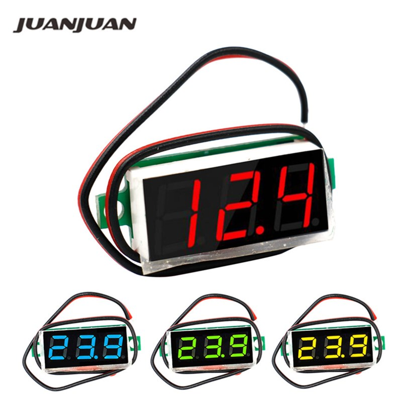 LCD Digital Panel  Voltmeter Voltimetro Volt Tester Gauge Voltage Meter DC 2.4V-30V 0.28 Inch For Motorcycle Car 42% Off