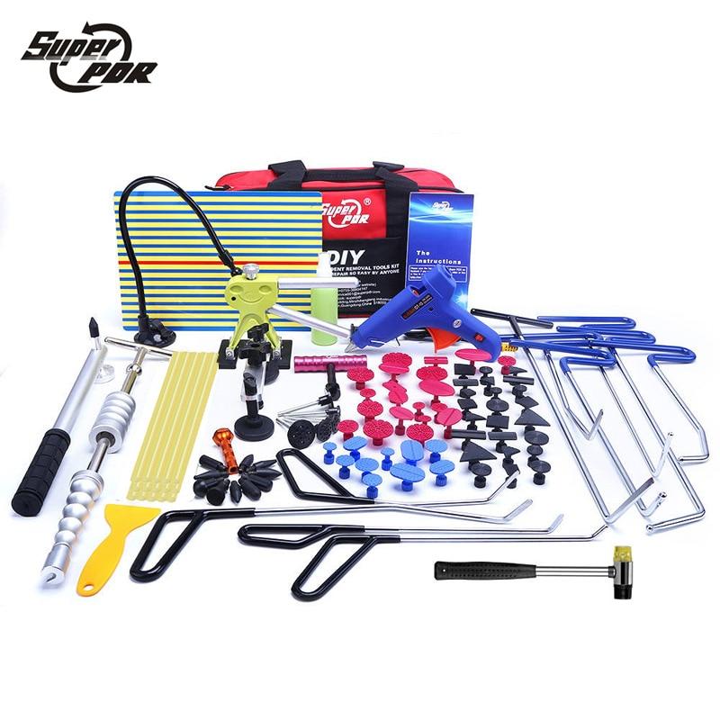 Super PDR Paintless Dent Repair Tools Push Rod Ganci Piede di Porco Riflettore di Luce Bordo Slide hammer colla puller Dent Rimozione toolkit