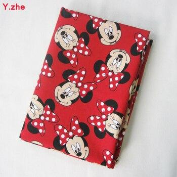 140*50cm 1pc Good Minnie Fabric 100% Cotton Fabric Red Minnie head Print Fabric Dress Material Sewing DIY Clothing Minnie Fabric фото