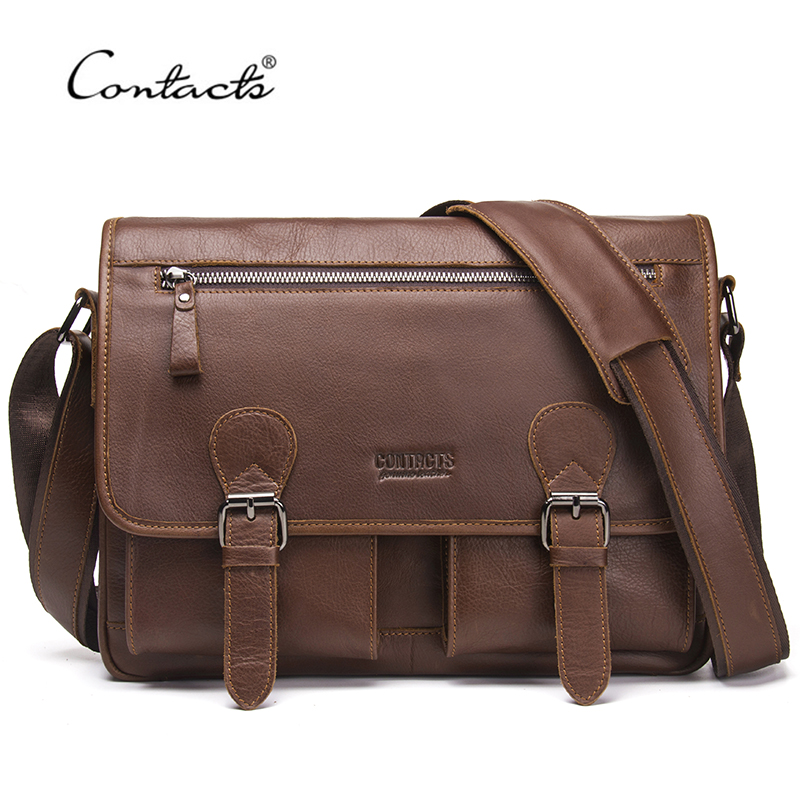 CONTACT'S Men Bag Genuine Leather Casual Messenger Bag High Quality Shoulder Crossbody Bags Brand Design Laptop Bag For Male casual canvas women men satchel shoulder bags high quality crossbody messenger bags men military travel bag business leisure bag