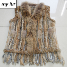 2019 Winter Genuine Real Rabbit Fur Vest With Real Raccoon Fur Collar Women Knitted Real Rabbit Fur Gilet Rabbit Fur Waistcoat cheap Real Fur Double-faced Fur REGULAR Striped Sleeveless My fur-032331 Covered Button Slim doakxol With Raccoon Dog Fur Collar