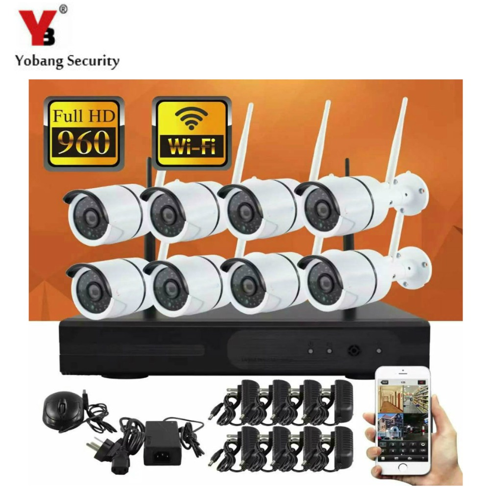 YobangSecurity 1.3MP CCTV Surveillance System 960P 8ch HD Wireless Wifi NVR kit With Outdoor IR IP Wifi Camera Security SystemYobangSecurity 1.3MP CCTV Surveillance System 960P 8ch HD Wireless Wifi NVR kit With Outdoor IR IP Wifi Camera Security System