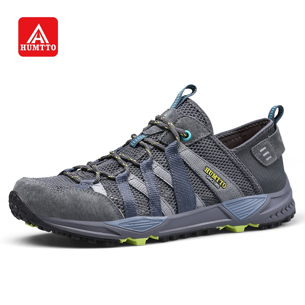 HUMTTO Men s Walking Shoes Breathable Mesh Pig Leather Stitching Fashion Sneakers Lace up Non slip