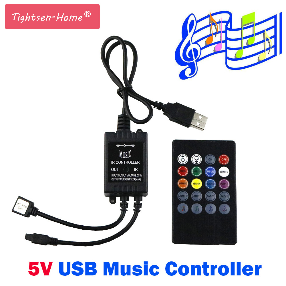 5V Music IR Controller 20 Keys 6A 3*2A Black Voice Sound Sensor Remote Practical Home Party For usb 5050 3528 RGB 5V LED Strip футболка мужская oodji basic цвет ярко розовый 5b621002m 44135n 4d00n размер s 46 48
