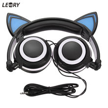 LEORY Foldable Cat Ear Headphones Flashing Glowing LED Headphone With Microphone For iPhone Gamer Headset 3.5mm For PC Computer