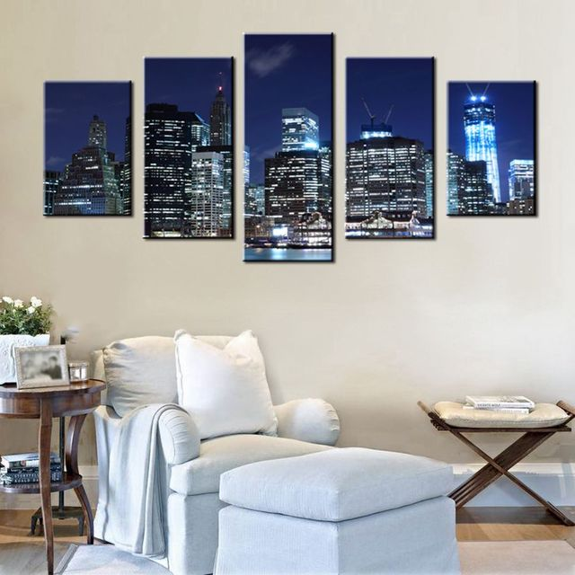 Canvas Printed Grey Blue Light Gl City Night View Artwork Wall Decor Landscape Painting For