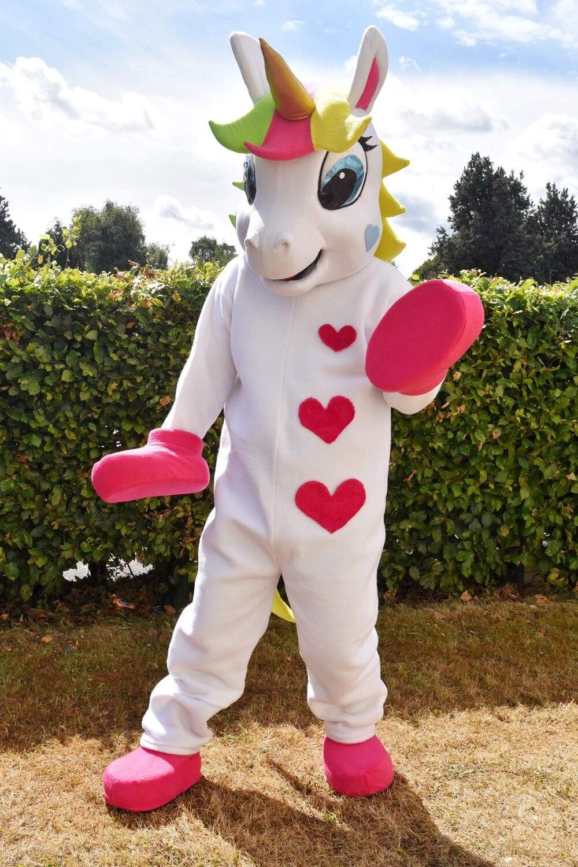 Licorne Mascotte costume Animal PONEY mascotte costume mignon coeur imprimé Défilé Clowns Anniversaires pour Adulte Halloween costumes de fête