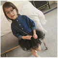 2017 spring kids girls dresses denim jacket and dress fake two clothes long sleeve black gray mesh casual dress children clothig