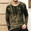 De algodón de manga larga camiseta de los hombres 2016 nuevo verde Oscuro tie-dye Estilo Frazzle TeeTops Slim Fit O-cuello de La Camiseta Ocasional de la marca ropa