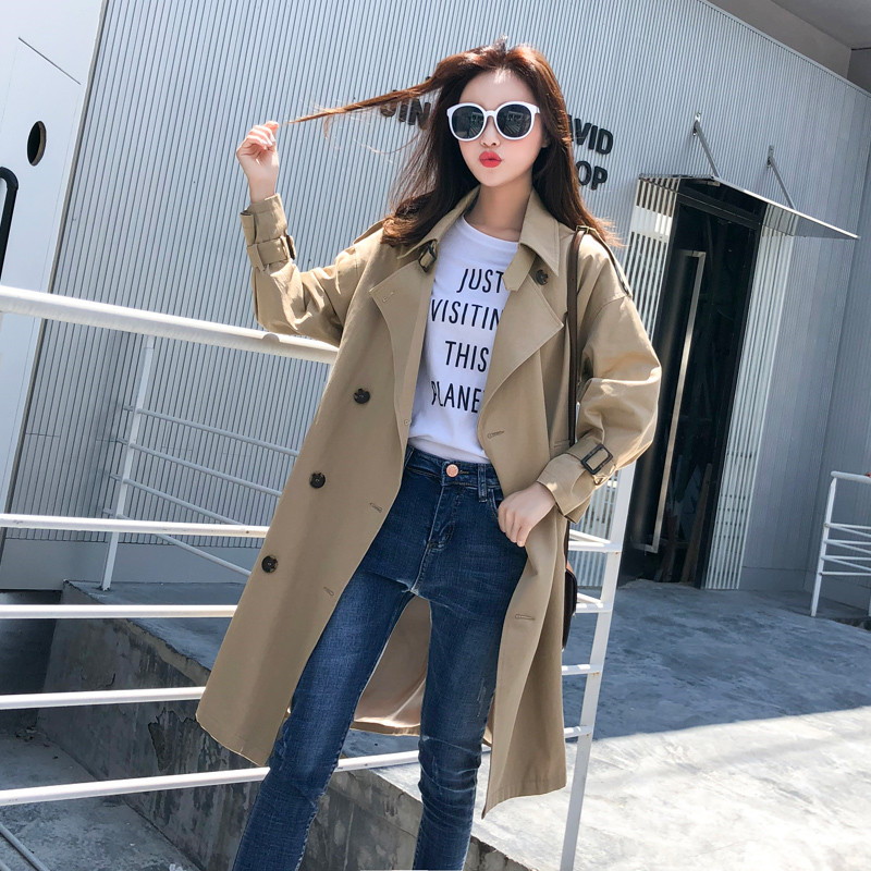 Casual Windbreaker Women's Long Section Spring Autumn 2019 new ins port Wind Lose Korean   Trench   Coats X504