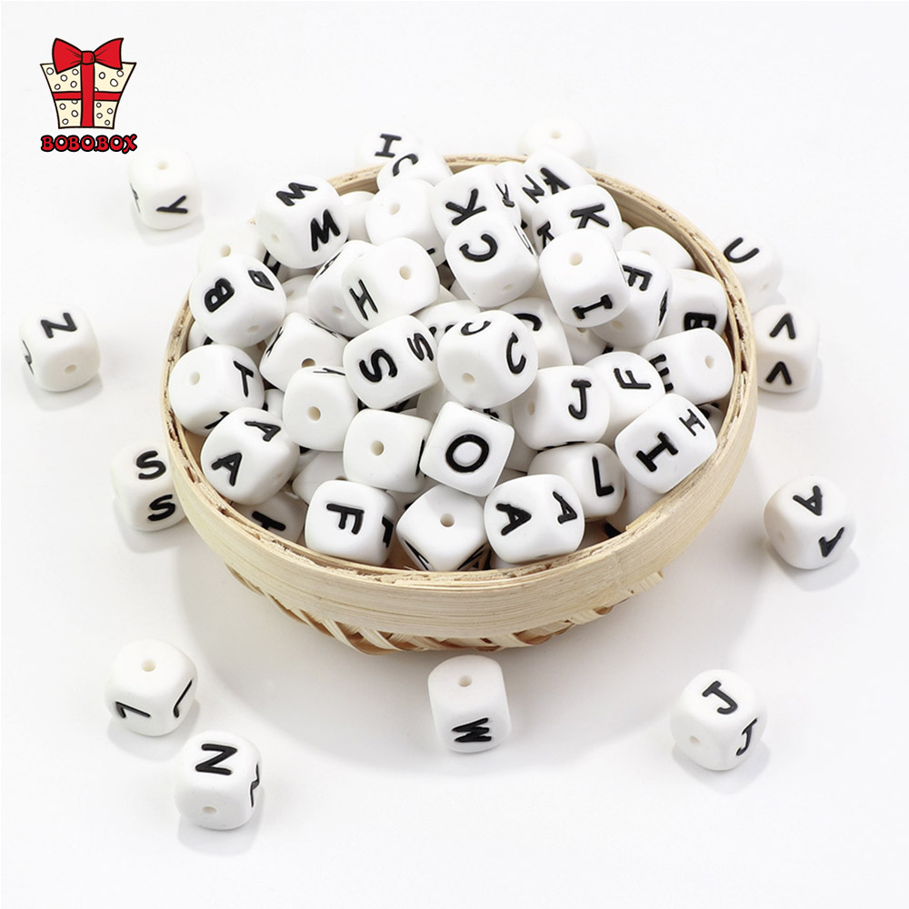 BOBO.BOX 100-1000pcs Alphabet Letter Silicone Beads  Personalized Name Baby Teething Beads Pacifier Chain Chewing Beads Necklace